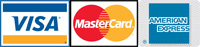 Credit Cards accepted - Visa, Mastercard, American Express